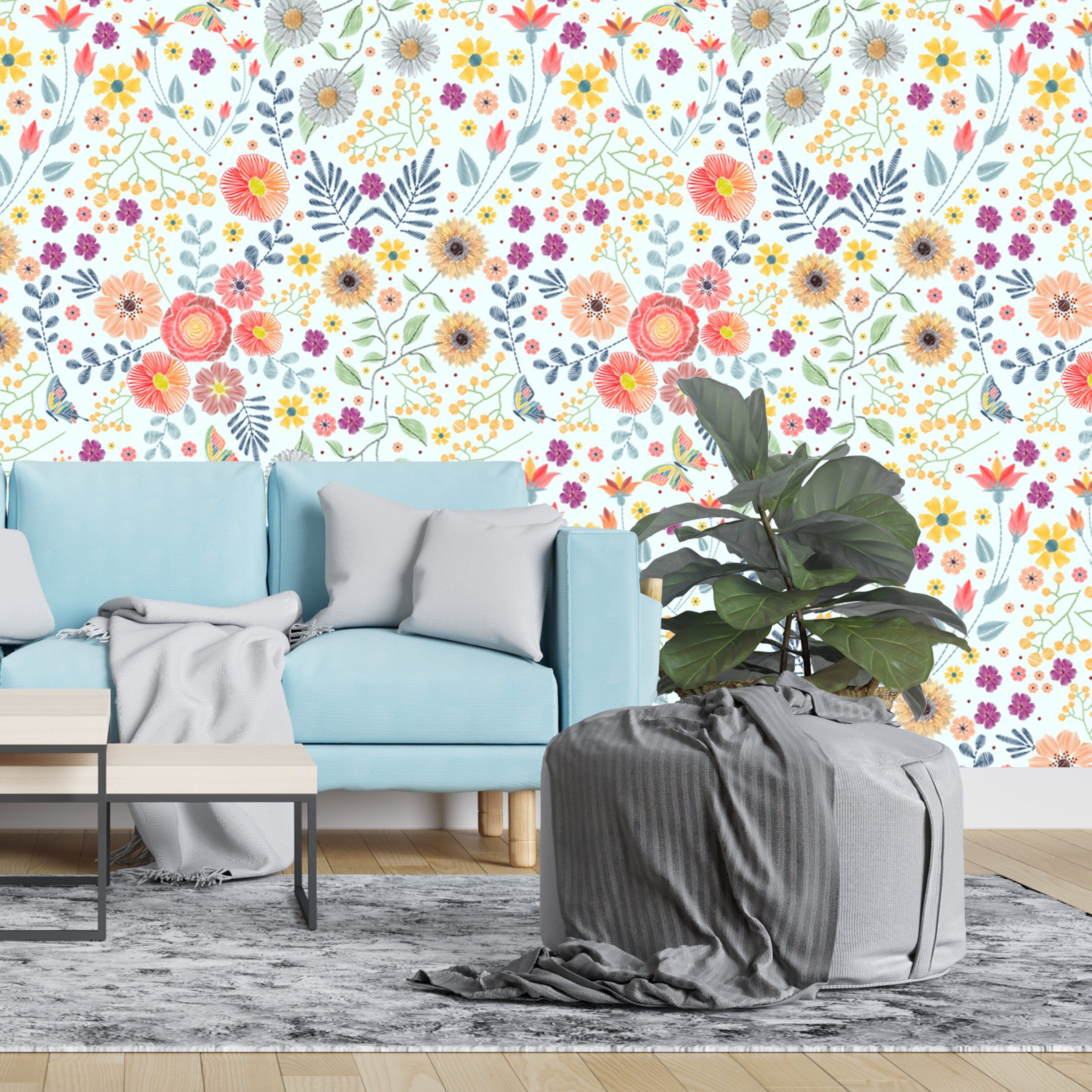 Removable Wallpaper Stitch Wild Flowers and Butterflies