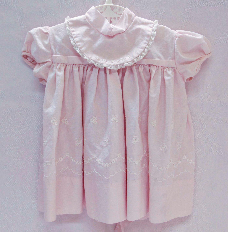 Vintage baby girl dress nannette pink bib collar white embroidery