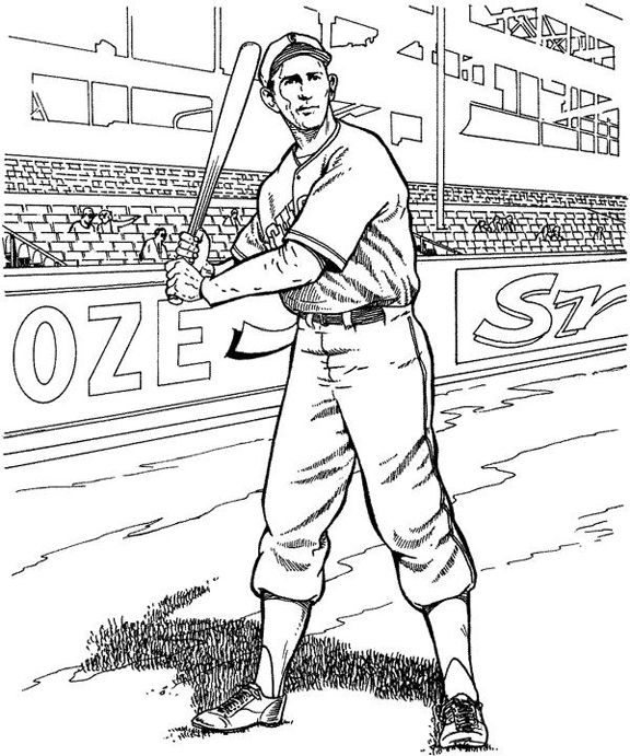 Baseball Player Baseball Coloring Page | Purple Kitty | Coloring ...