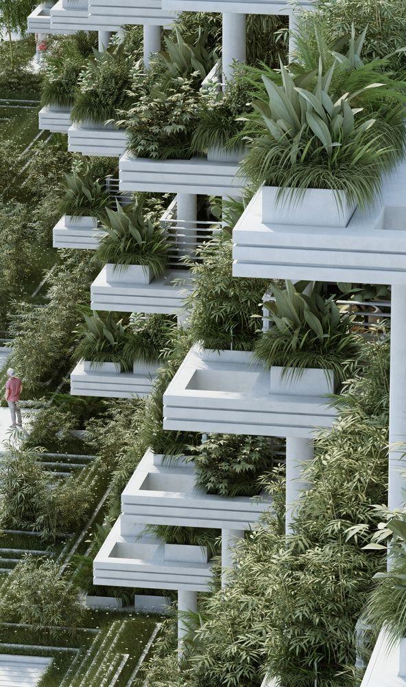 Gallery of Penda Designs Sky Villas with Vertical Gardens for