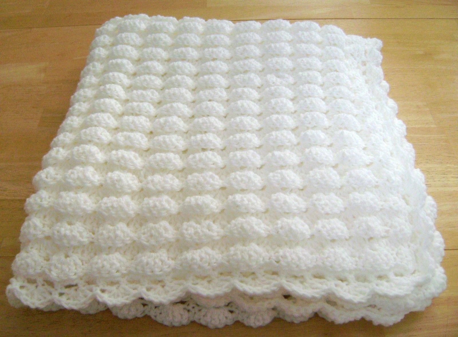 Crochet White Baby Blanket Shell Pattern Handmade Girl Boy Great ...