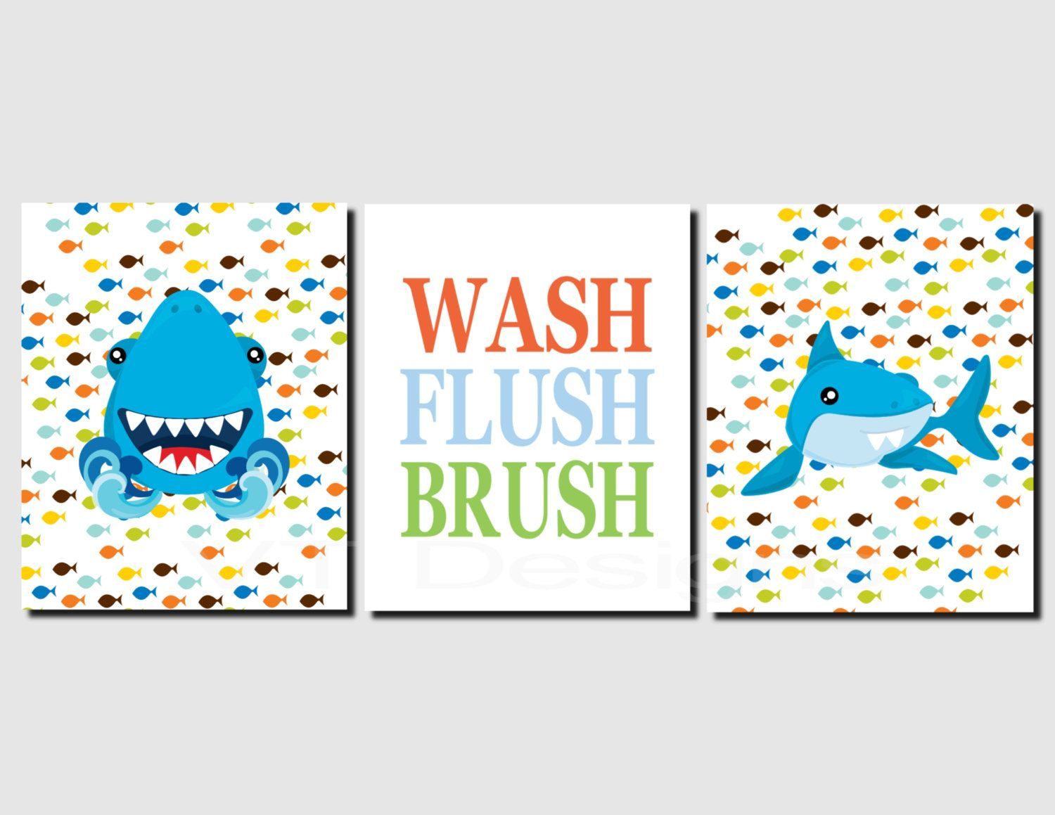 Kids Bathroom Wall Art shark bathroom art, kids bathroom wall art, wash, brush, flush