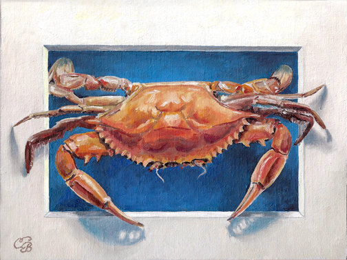 trompe l'oeil Crab, contemporary artist,Louisiana artist, New Orleans Artist Camille Barnes, oil on canvas, Painting,realism,seafood,. crab,