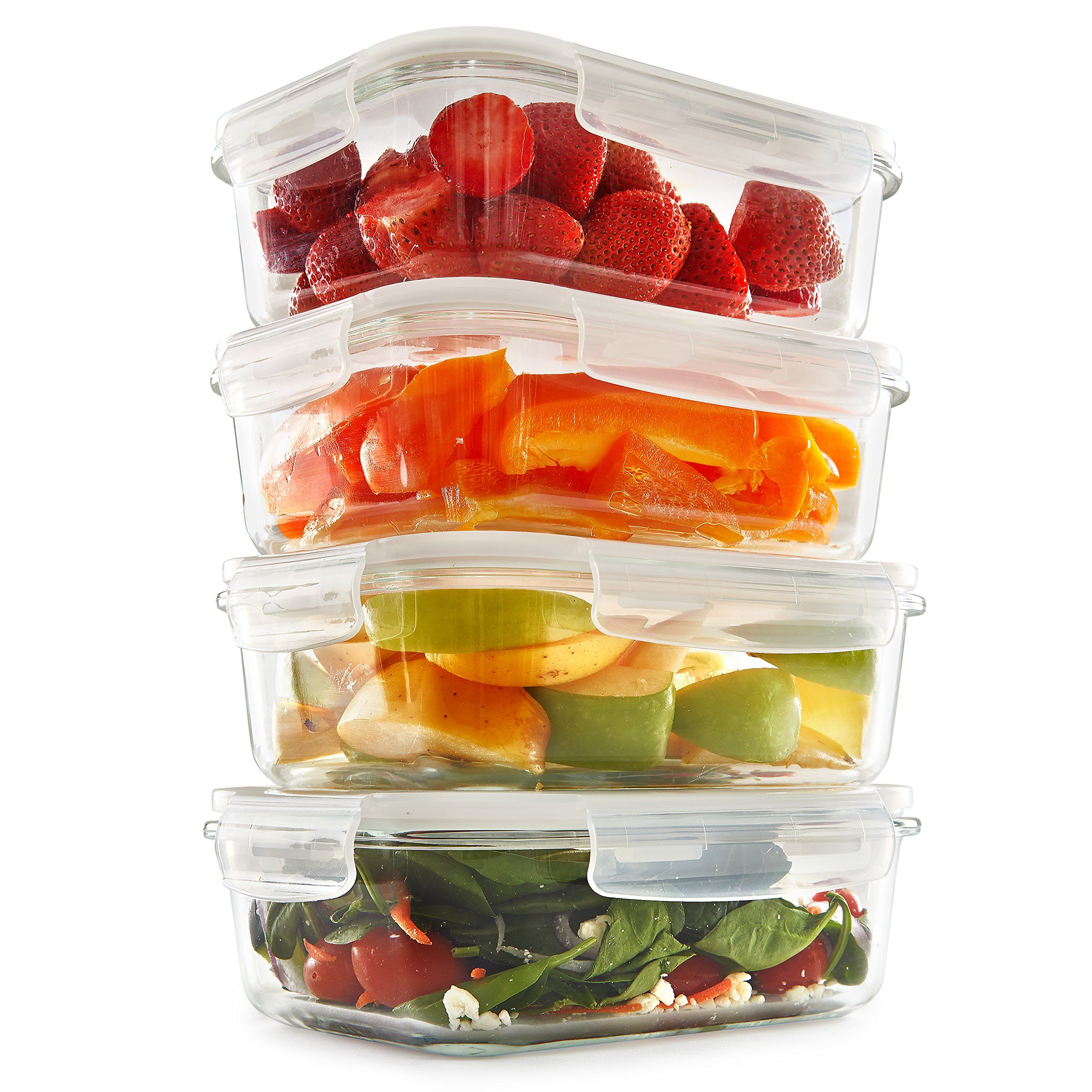 Glass Meal Prep Containers 8 Pack 35 oz Food Storage Containers
