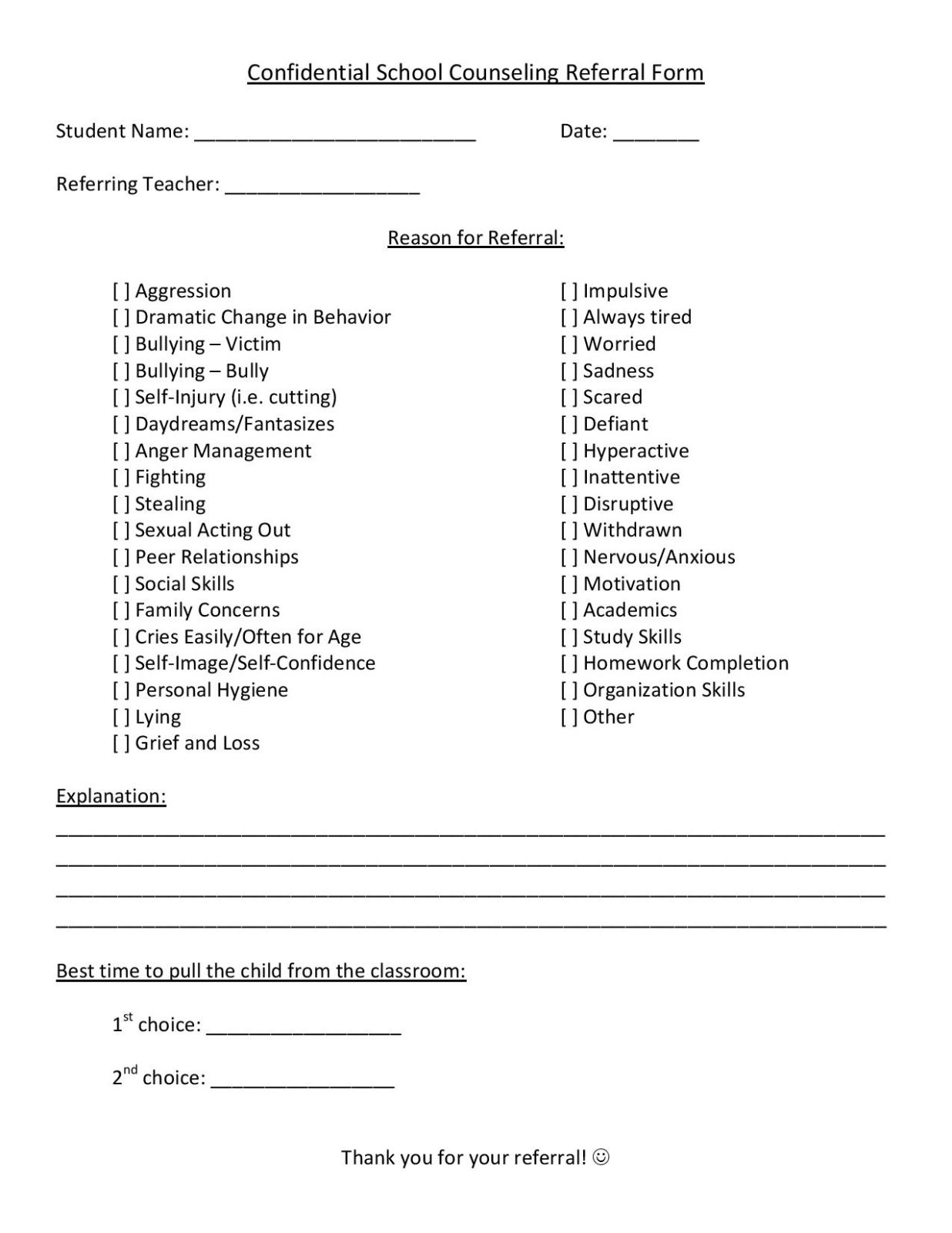 School Counseling Referral Form School Counseling School