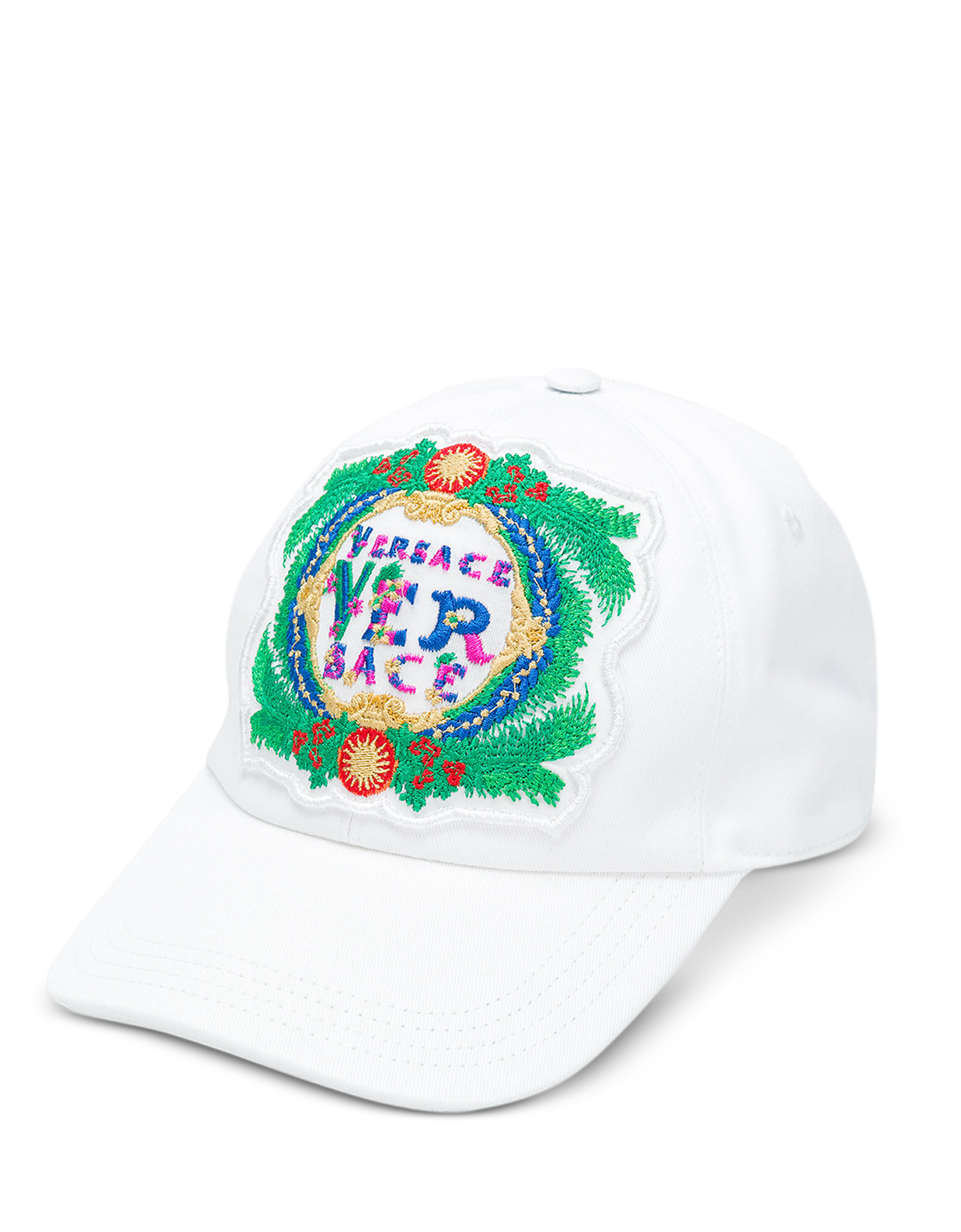 f55c629ae70b3e ON SALE: Versace - White Cotton Unisex Baseball Cap w/Beverly Palm  Embroidery