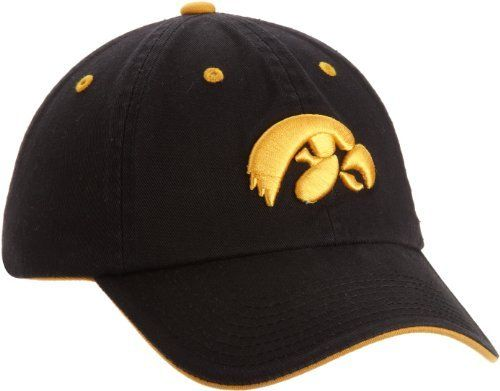 NCAA Iowa Hawkeyes Adult Adjustable Hat, Black by Top of the World. $14.66. Secondary mark on the woven flag label on the back. Primary 3D logo on the front. Team color adjustable washed cotton hat. cotton. NCAA Iowa Hawkeyes Adult Adjustable Hat. Save 19% Off!