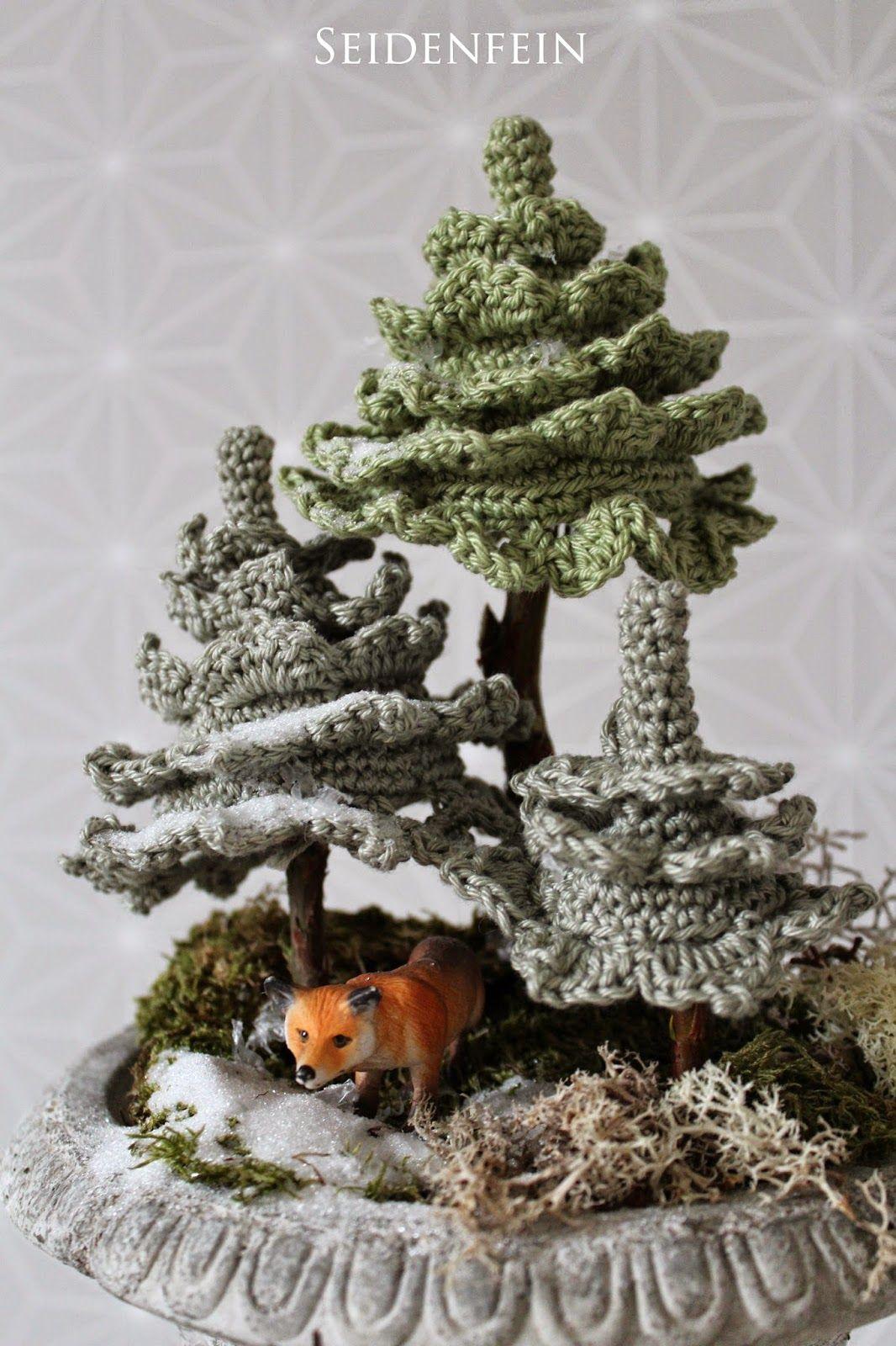 seidenfeins Dekoblog : Tannenbäume häkeln * DIY * crochet some Fir ...