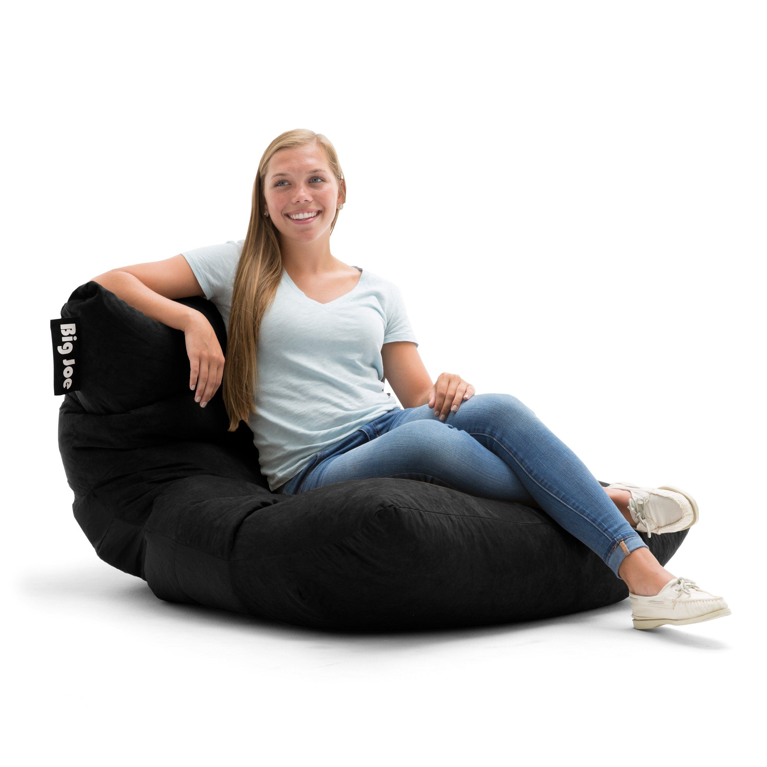 Big Joe Roma In Comfort Suede Plus Bean Bag Black Click On The Image For Additional Details This Is An Affiliate Lin With Images Bean Bag Chair Cool Bean Bags