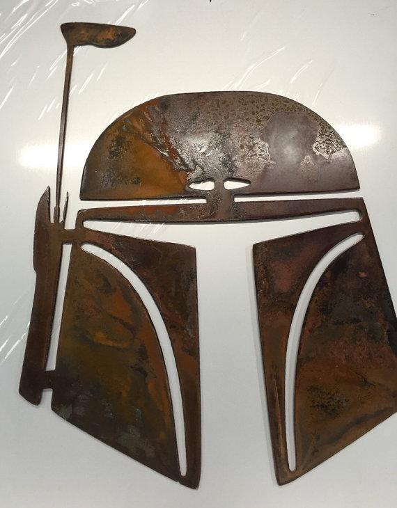 Star Wars Boba Fett Metal Wall Art Decor Helmet Baby Etsy Metal Wall Art Decor Boba Fett Wall Art Metal Wall Art