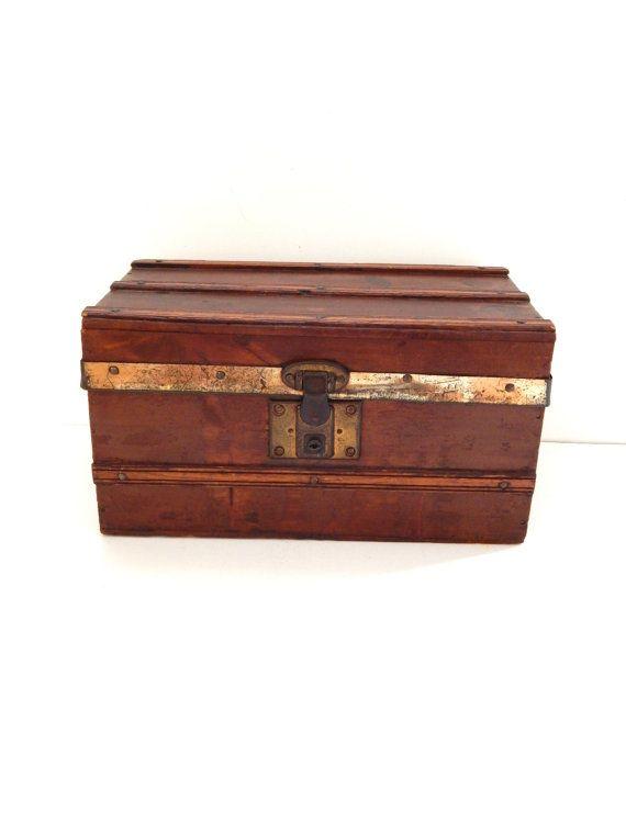 Antique Small Wooden Trunk Flat Top Wood By Hiddenstairwayfinds