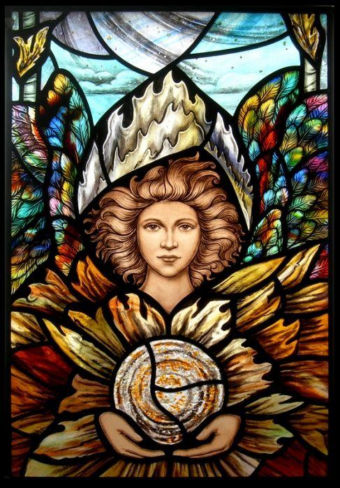 Detail of Archangel Uriel, Archangel window by David and Steven Cowan of Master Glass Artists, Sutton Coldfield, UK