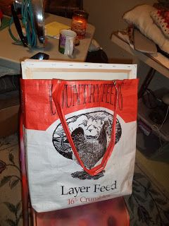 My Freezer is Full: Feed sack to tote bag- a tutorial by Judy T | This is a tutorial for a full size bag with an optional mesh pocket inside (from sack fabric & pet screen material)