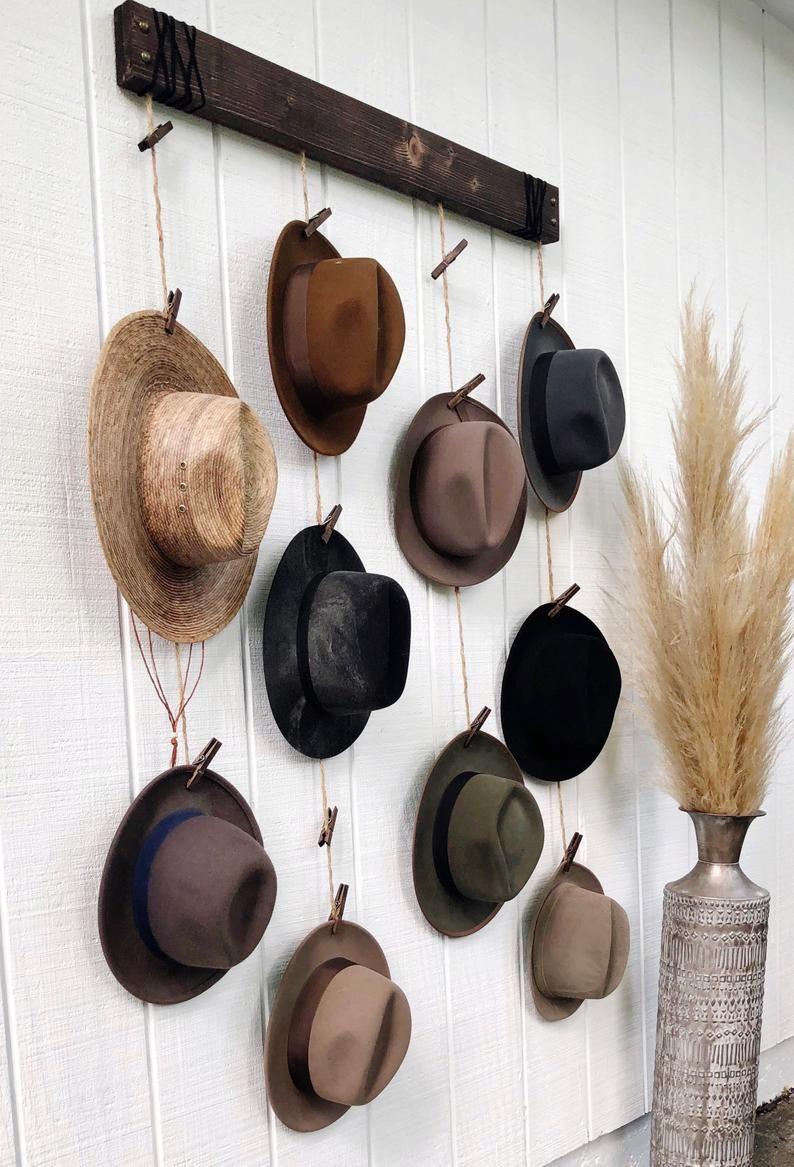 Hat Organizer Hat Wall Hanging Fedora Display Hat Rack Industrial Home Decor Hat Wall Hat Organization Diy Hat Rack