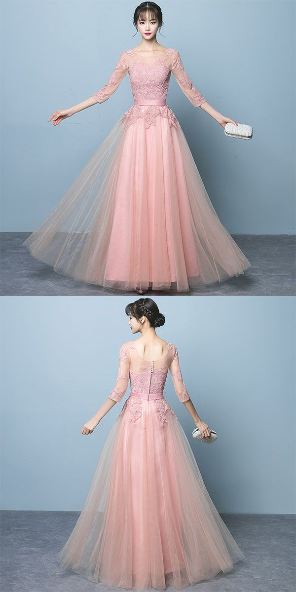 of girl | Pink lace long prom dress, long sleeve evening dress ...