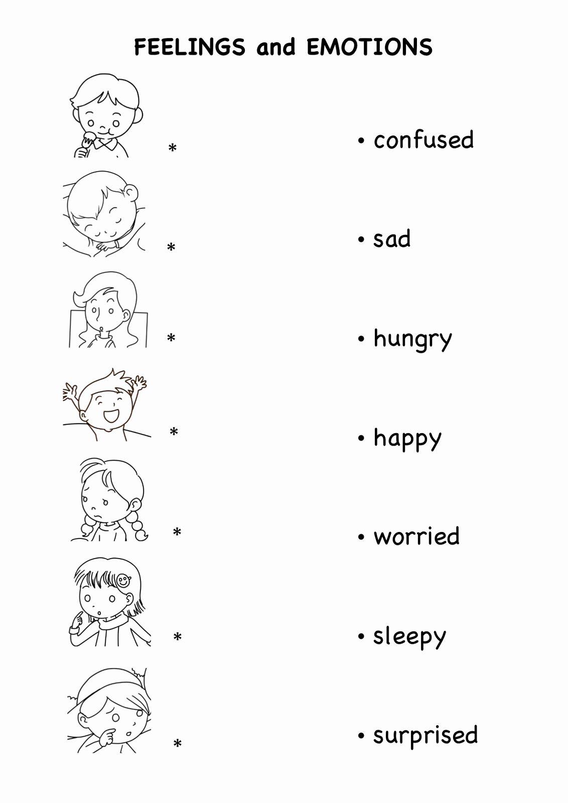 Feelings Worksheet For Preschool Student In
