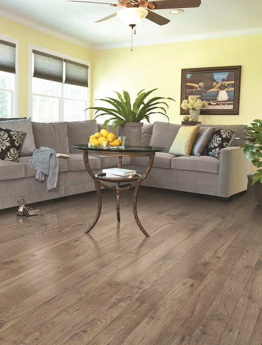 Light brown and gray #laminate wood floor for living room design ...