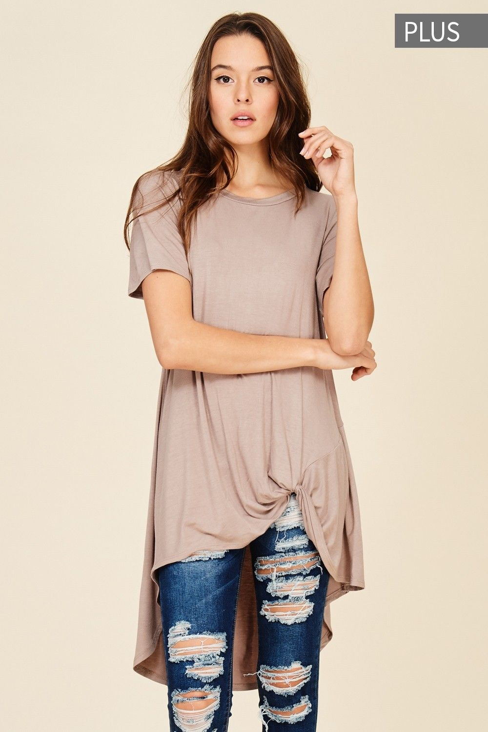cfb28e3943a8f9 Plus Size Fron Knot Short Sleeve Top Style  T1179P Plus size knit top  featuring solid