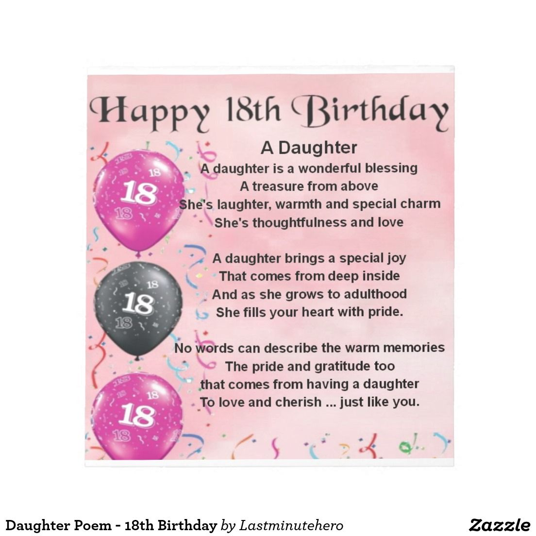 Daughter Poem - 18th Birthday Memo Note Pads