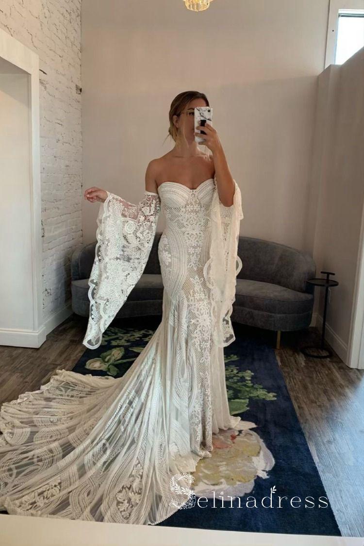 Chic Mermaid Boho Lace Court Train Rustic Wedding Dress Sew057 Wedding Dresses Lace Lavender Bridesmaid Dresses Summer Wedding Dress [ 1125 x 750 Pixel ]