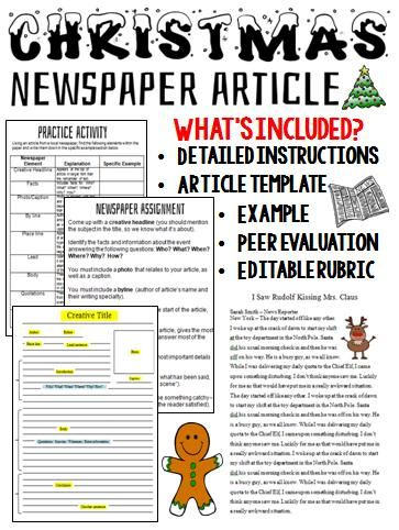 Christmas Writing Activity Newspaper Article Writing Activities