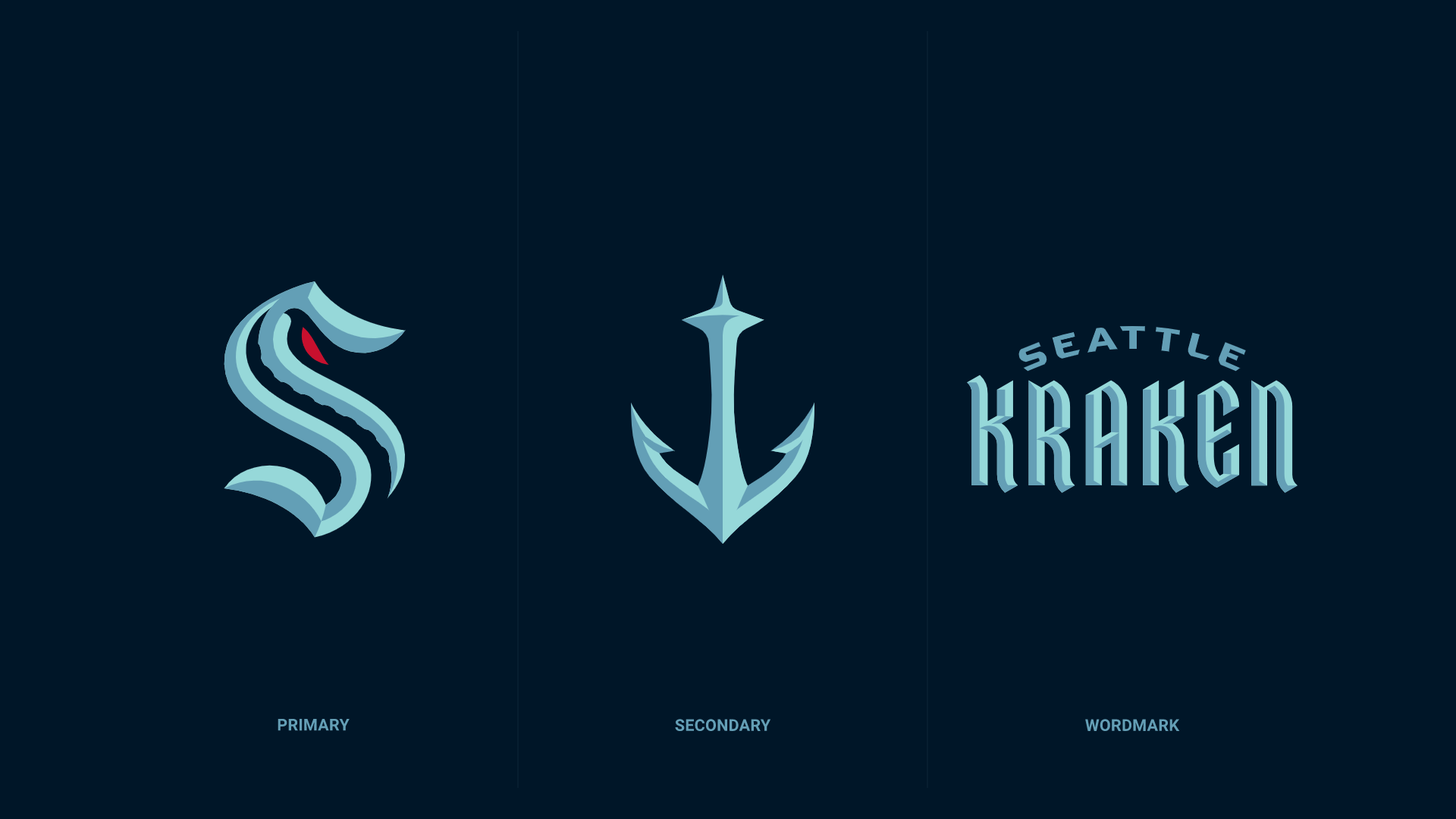 Brand New New Name And Logo For Seattle Kraken In 2020 Logo Design Inspiration Sports New Names Kraken