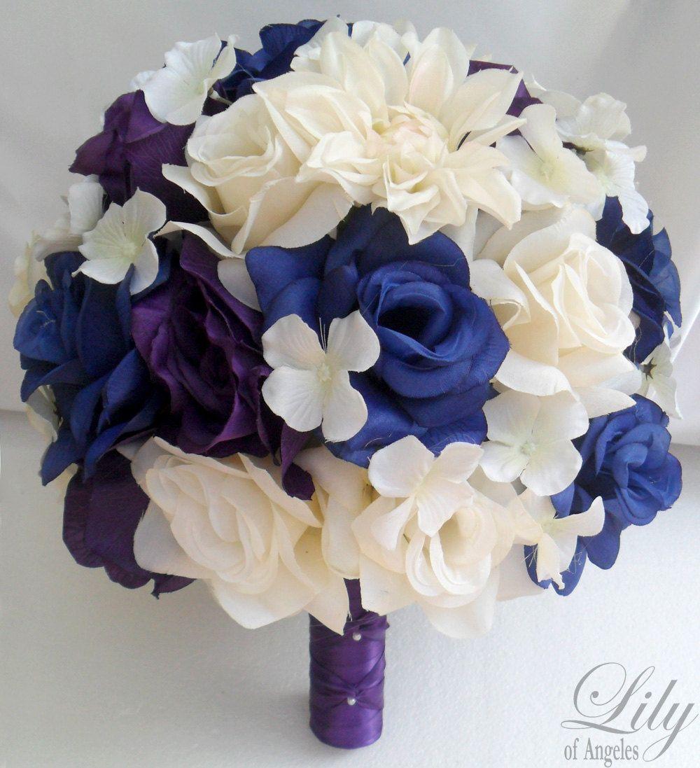 Blue And Purple Wedding Bouquets Decoration Bridal Bouquet White
