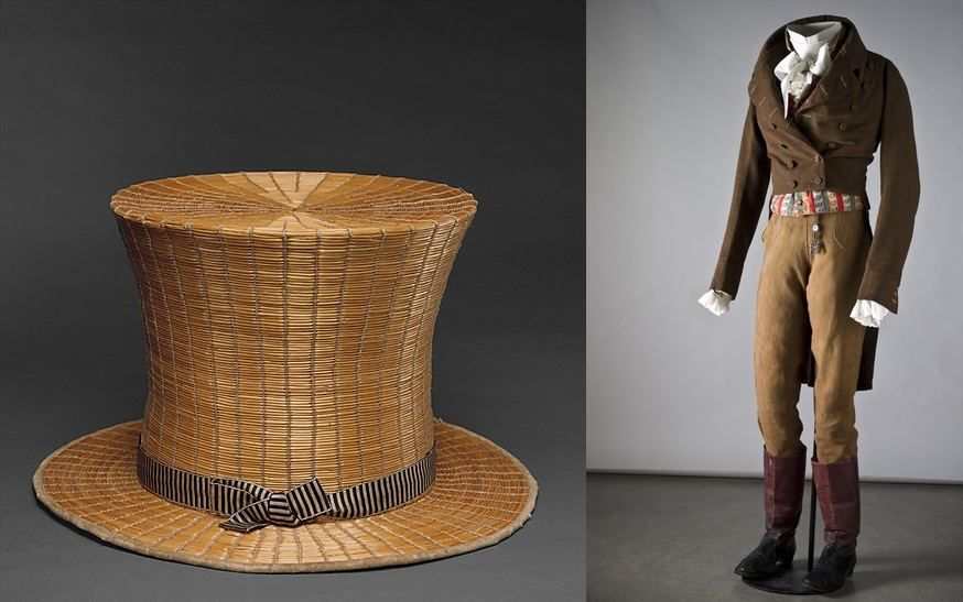 Top Hat 1820, French, Made of silk and raffia. Men's ensemble, early 19th century, Nordiska Museet.