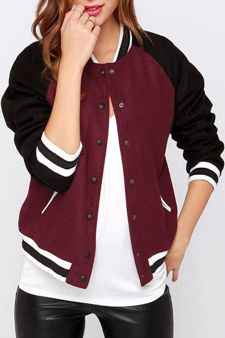 Jewel Neck Color Block Baseball Jacket Wine Red Jackets Coats Womens Fashion Jackets Jackets For Women Clothes