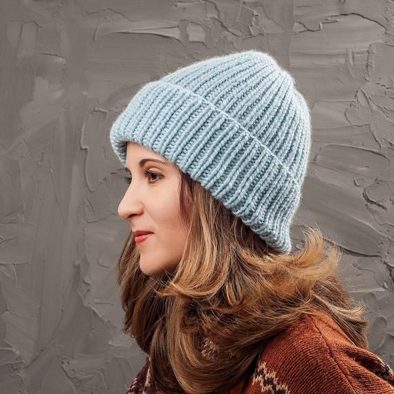 33d40616fcc76 Christmas in July Light blue knit hat Warm chunky hat Blue wool hat Gift  for her Women wool hat Wint