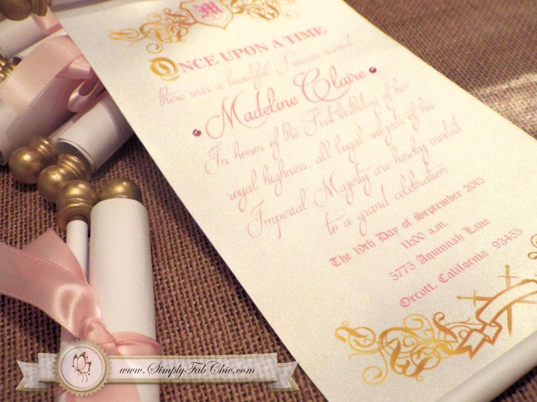 Royal Princess Scroll Invitation Birthday Wedding Invitation – Disney Princess Wedding Invitations