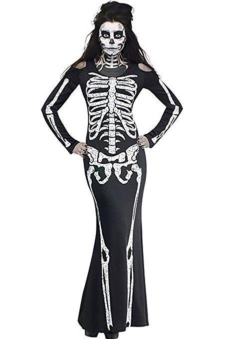 Skelett Minikleid für Fasching /& Halloween