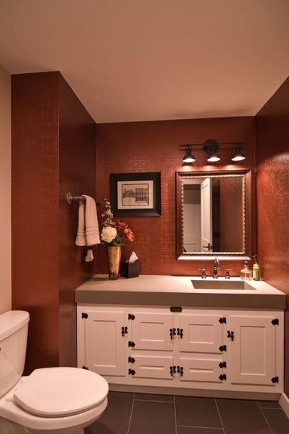 Off Center Sink Industrial Powder Room By Besch Design Ltd