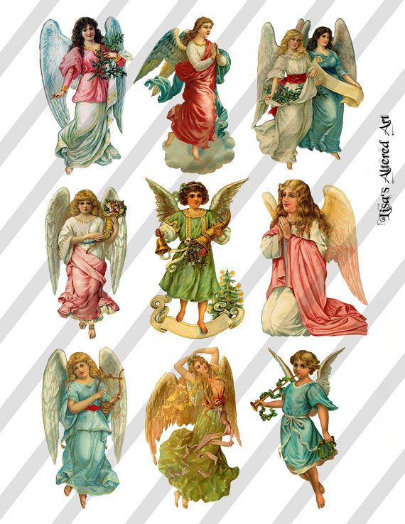 Digital Collage Sheet Victorian Christmas Angel Images (Sheet no. O153) Instant Download