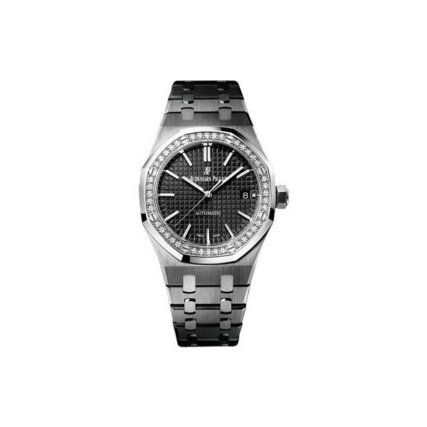 Audemars Piguet Royal Oak Black Dial Stainless Steel Unisex Watch (£11,400) ❤ liked on Polyvore featuring jewelry, watches, analog wrist watch, black bracelet, audemars piguet watches, stainless steel jewelry and black stainless steel watches