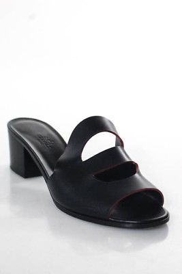 112a4e53707485 Hermes Black Calfskin Jasper Stacked Heel Mona Sandals Size 40 10 ...