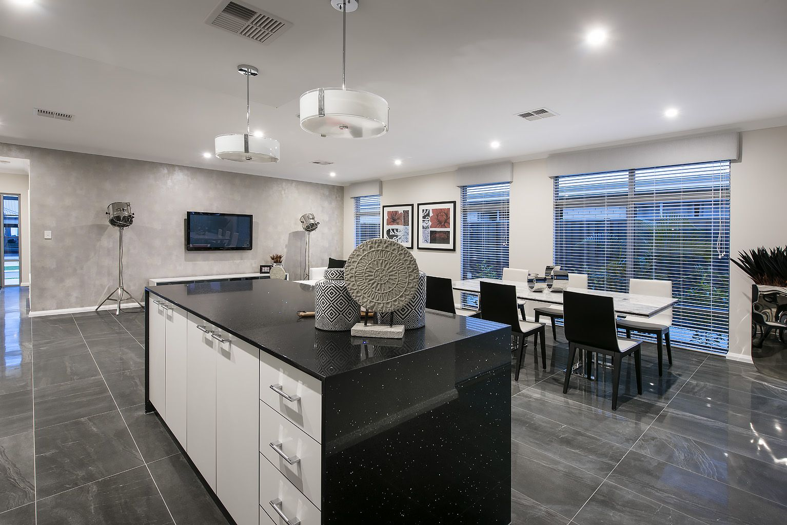 Absolute Black Diamond Island Bench Top With Waterfall Panels Quartz Black Kitchens Quartz Kitchen Kitchen Benchtops