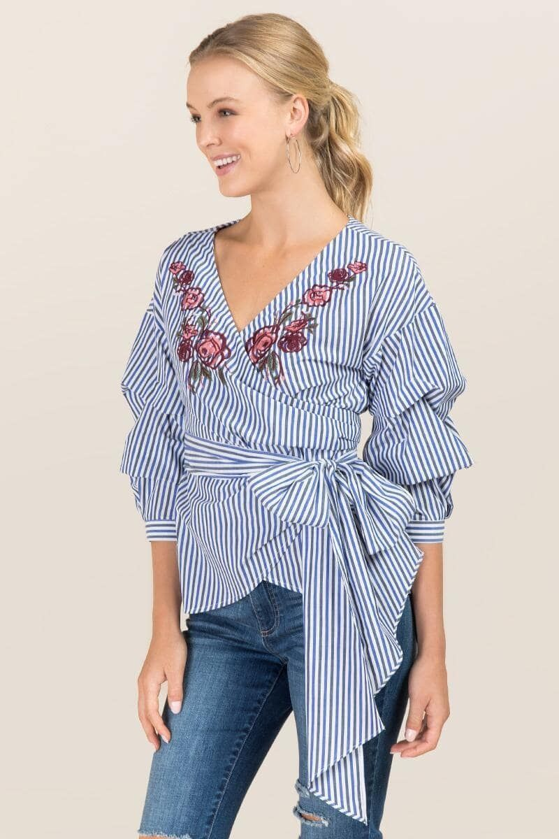 a6d140c5e173d2 Charli Embroidered Lantern Sleeve Wrap Top | Tops | Tops, Sleeves ...