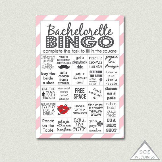 Bachelorette Bingo Cards Party Drinking