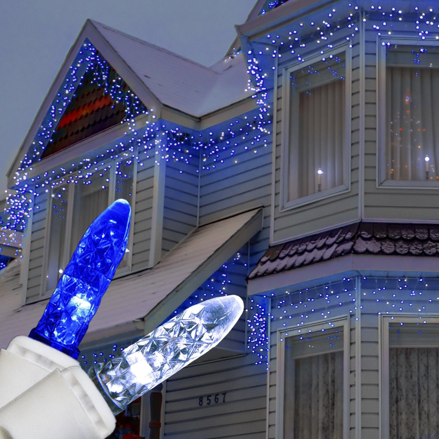 canvas of blue and white christmas lights