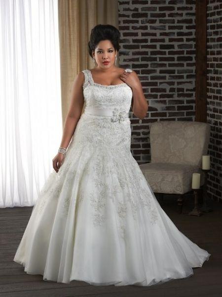 vestido de novia tallas grandes corte sirena con tirantes anchos