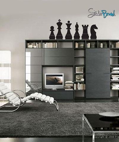 Vinyl Wall Art Decal Sticker Chess Board Pieces 135 In
