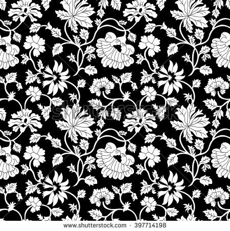 Seamless Black And White Floral Pattern Texture Design Print