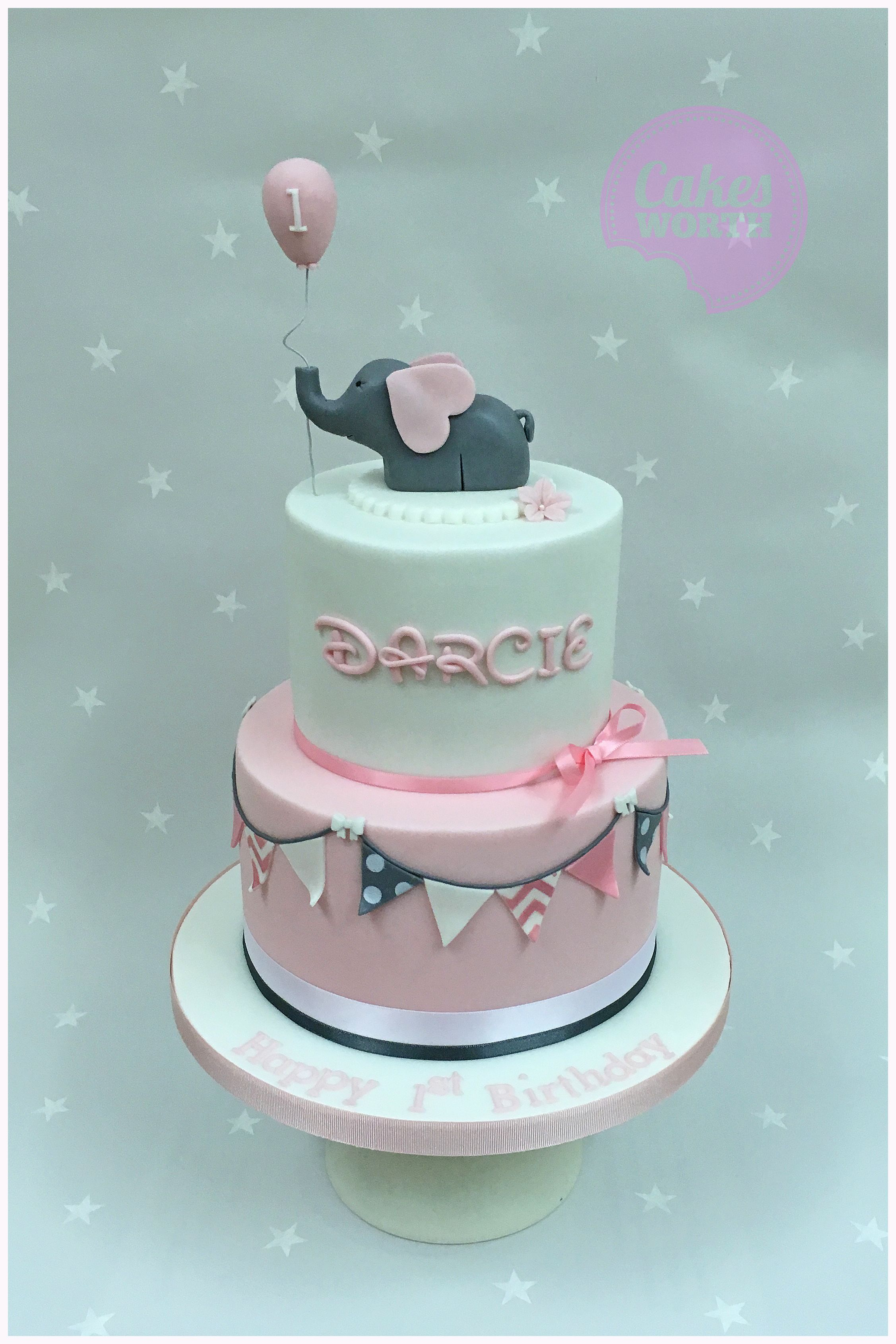 Pretty Two Tier Girls 1st Birthday Cake In Pink And Grey With Decorated Bunting Edible Elephant