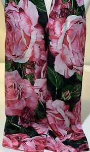 100% Mulberry Silk Scarf Shawl Wrap ~ Dark Pink Roses & Green Leaves ~ 52x200cm | eBay
