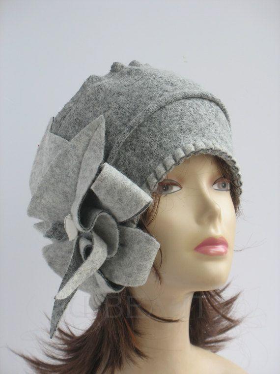 3320deed Cloche hat chunky womens Gray ladies winter beanies handmade wool ...
