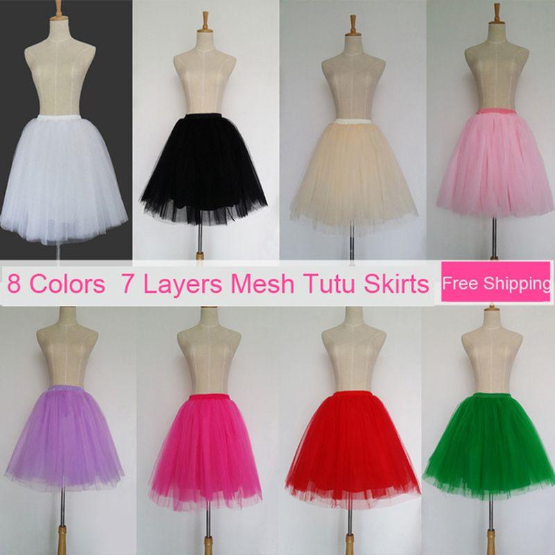 Tüll Röcke Frauen 7 Schichten Hohe Qualität Sommer Frauen Erwachsenen Tutu Rock Faldas Saias Femininas Plissee Midi Röcke