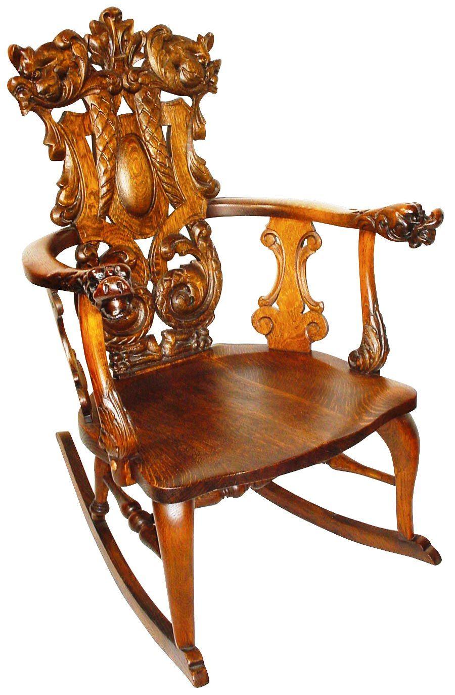 This ornately carved rocker is a Stickley, but not Gustav Stickley's work;  it was. Cardboard FurnitureWooden FurnitureFurniture ChairsVintage ... - This Ornately Carved Rocker Is A Stickley, But Not Gustav