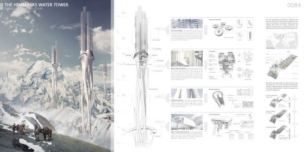 Himalaya Water Tower Evolo Skyscraper Submission 2012.  A explicit system diagram of the process of water collection, transportation, treatment, and storage.