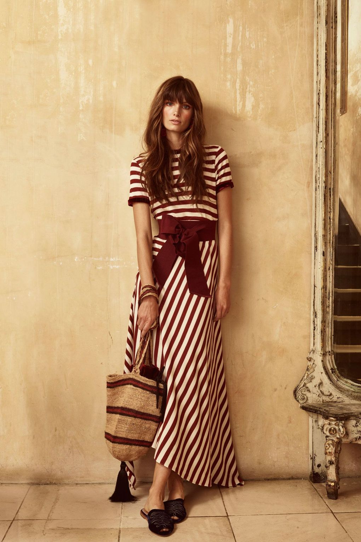 Johanna Ortiz Woman Fluted Striped Silk-satin Maxi Skirt Navy Size 6 Johanna Ortiz FNhqchy